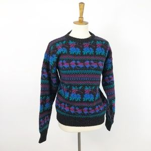 Vintage 80's Teal Purple Black Wool Crew Sweater